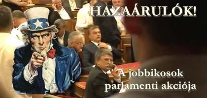 A Jobbik parlamenti akciója. Ami a hivatalos parlamenti közvetítésből kimaradt