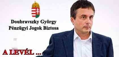 NCK-Levél Doubravszky Györgynek, a Pénzügyi Jogok Biztosának