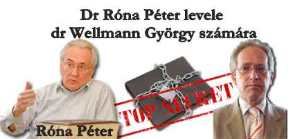 Dr Róna Péter levele dr Wellmann György számára