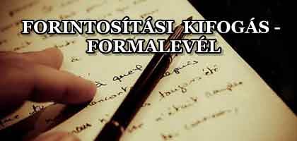 FORINTOSÍTÁSI KIFOGÁS - FORMALEVÉL.
