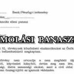 ELSZÁMOLÁSI PANASZMINTA