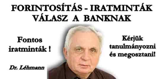 FORINTOSÍTÁS - IRATMINTÁK -VÁLASZ A BANKNAK.