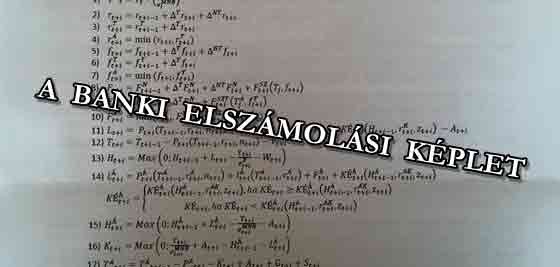 A BANKI ELSZÁMOLÁSI KÉPLET.