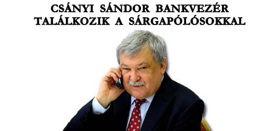 CSÁNYI SÁNDOR BANKVEZÉR TALÁLKOZIK A SÁRGAPÓLÓSOKKAL.