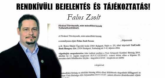 FALUS ZSOLT-RENDKÍVÜLI BEJELENTÉS ÉS TÁJÉKOZTATÁS!