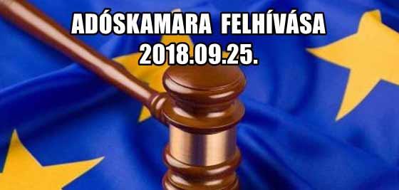 ADÓSKAMARA FELHÍVÁSA 2018.09.25.