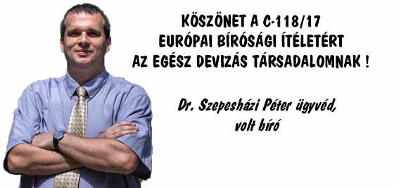 KÖSZÖNET A C-118/17 EURÓPAI BÍRÓSÁGI ÍTÉLETÉRT AZ EGÉSZ DEVIZÁS TÁRSADALOMNAK!