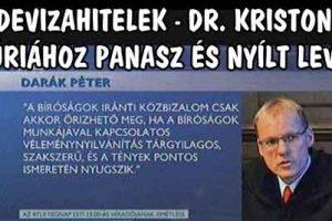 DEVIZAHITELEK - DR. KRISTON: KÚRIÁHOZ PANASZ ÉS NYÍLT LEVÉL