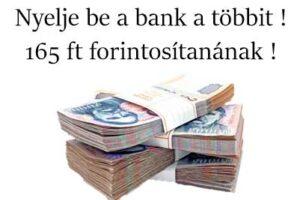 Nemzeti Civil Kontroll, devizahitel, forintosítás, Nyelje be a bank a többit! 165 ft forintosítanának!